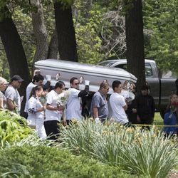 The funeral procession filled with friends and family of Marlen Ochoa-Lopez at Mount Auburn Funeral Home in Stickney.