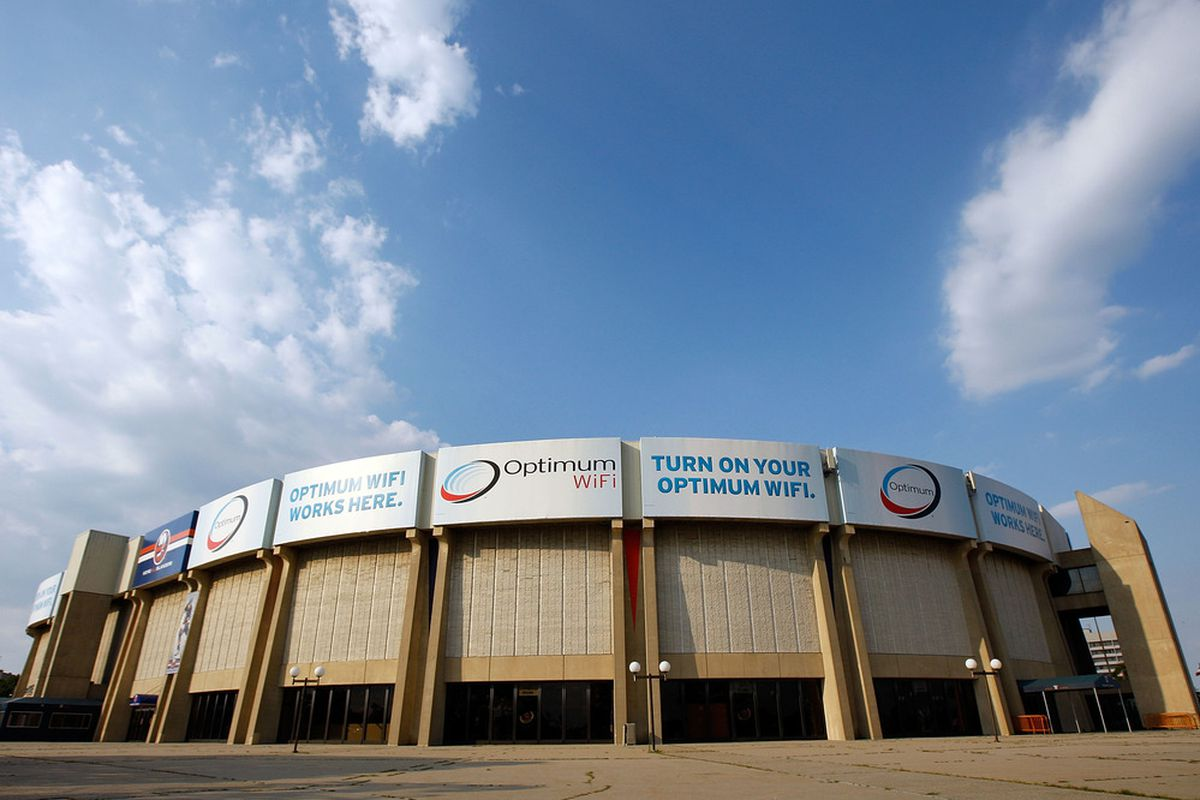 UNIONDALE, NY - JULY 16: An exterior view of the Nassau Coliseum is seen prior to the New York Islanders Blue and White Game on July 16, 2011 at Nassau Coliseum in Uniondale, New York. (Photo by Mike Stobe/Getty Images)