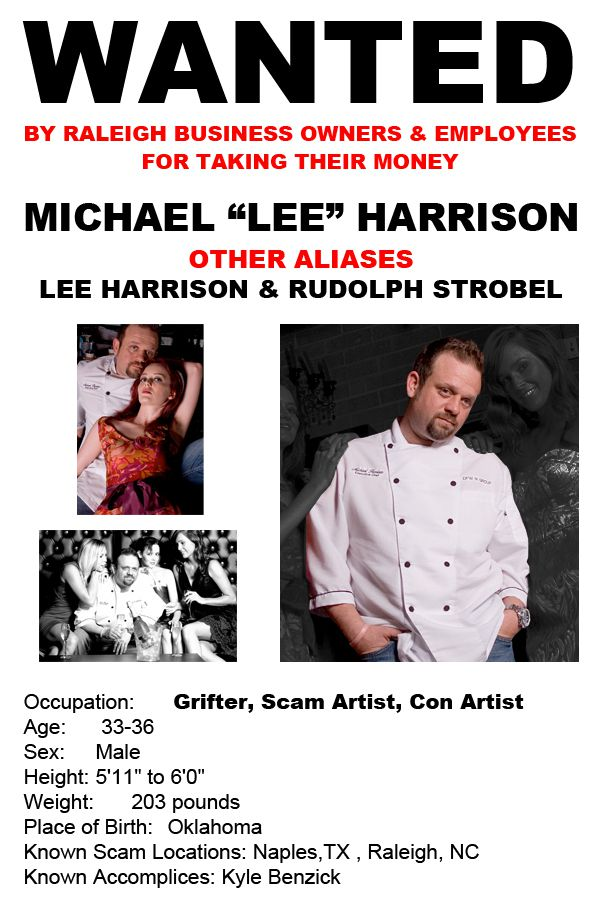 Wanted poster created by a victim of Lee Michael Harrison