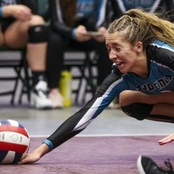 Farmington outside hitter Ellie Darling (1) gets the dig during the 5A high school state finals match at the UCCU Center on the Utah Valley University campus in Orem on Saturday, Nov. 9, 2019. Farmington fell in four sets to Mountain View.