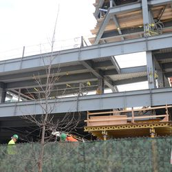 3:21 p.m. A wider view of the open space under the left field video board -