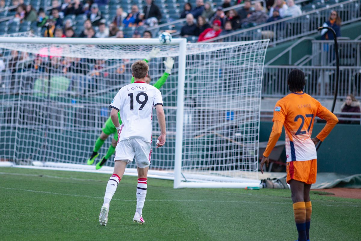 USL League One Photo - Lansing strike the crossbar as Toronto FC II goalkeeper dives and Griffin Dorsey can only watch