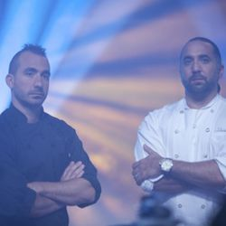 """<a href=""""http://eater.com/archives/2010/11/19/marc-forgione-and-marco-canora-on-the-next-iron-chef-finale.php"""" rel=""""nofollow"""">Marc Forgione and Marco Canora on the Finale, Talking Trash, and Comedy B-Roll</a><br />"""