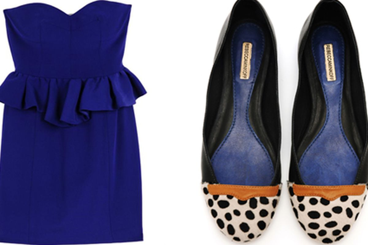 Rebecca Minkoff's Brigitte bustier dress, on sale for $190, and M.A.B. flats, on sale for $100