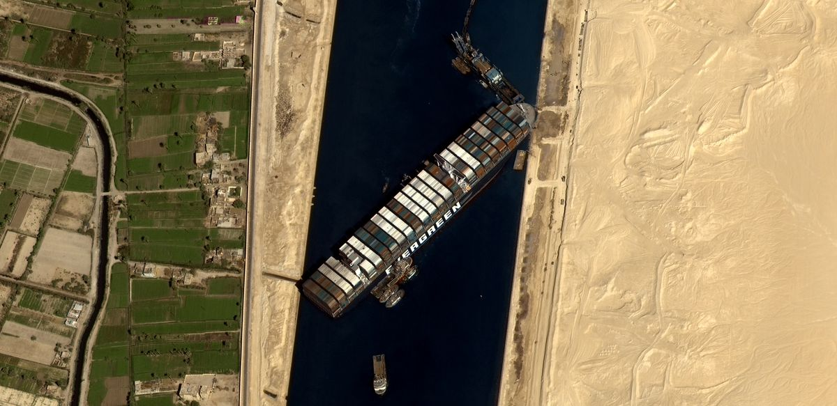This Microsoft Flight Simulator mod features the cargo ship stuck in the Suez Canal