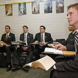 Elder Tanner Camp, right, and other missionaries take Russian language lessons at the Mormon Missionary Training Center in Provo, Utah Thursday January 31, 2008.