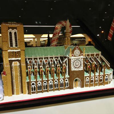 A gingerbread replica of Notre Dame.