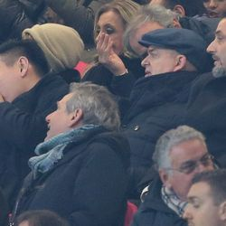 AC Milan Owner and President Yonghong Li, AC Milan board member David Han Li, AC Milan CEO Marco Fassone and Sportif Director of AC Milan Massimiliano Mirabelli are pictured during the TIM Cup match between AC Milan and FC Internazionale at Stadio Giuseppe Meazza on December 27, 2017 in Milan, Italy.