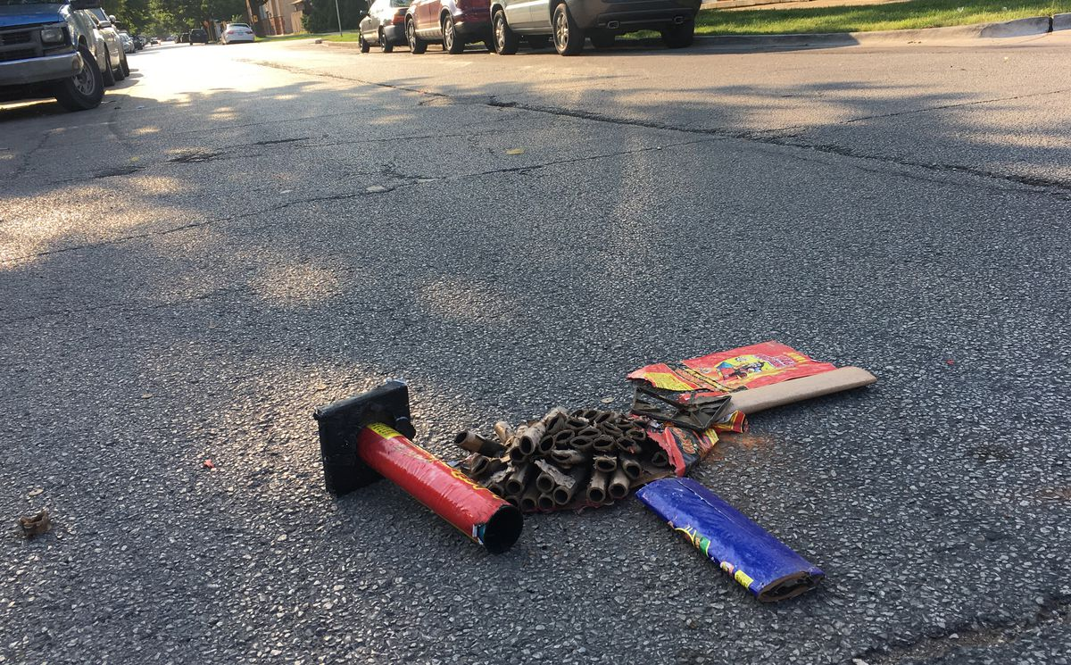 More celebrants left this litter behind near Waveland and Sacramento.   Mitch Dudek/Sun-Times