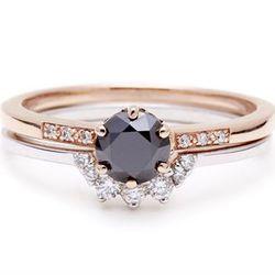 """<b>Anna Sheffield</b> <a href=""""http://www.annasheffield.com/products/hazeline-black-diamond-bridal-set"""">Hazeline Black Diamond Bridal Set</a>, $2,825"""