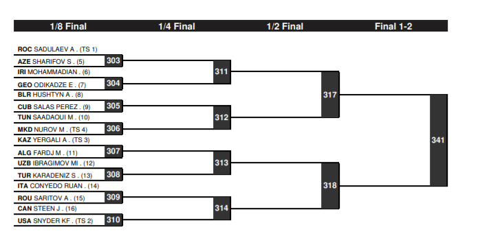 Tokyo Olympic Games 97 kg men's freestyle brackets