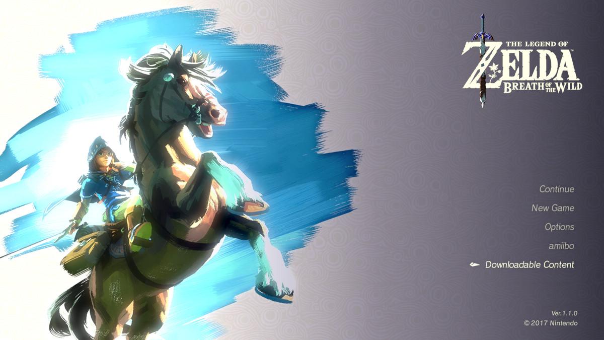 The Legend of Zelda: Breath of the Wild v1.1.0 main menu