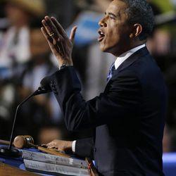 President Barack Obama speaks to delegates at the Democratic National Convention in Charlotte, N.C., on Thursday, Sept. 6, 2012.