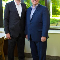 Kimball Parker, left, stands with  BYU J. Reuben Clark Law School Dean D. Gordon Smith. Parker is the director of a novel new program for law students, LawX, set to launch this fall at BYU.