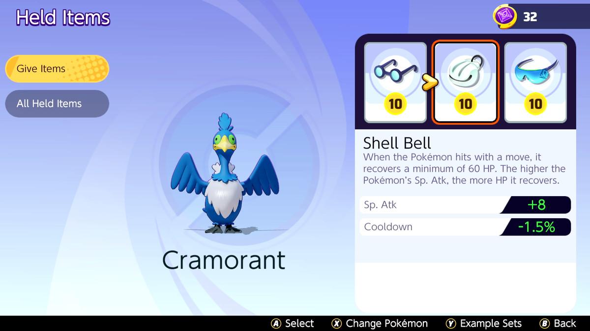 A Cramorant build in Pokémon Unite