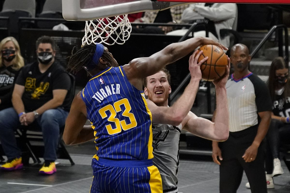 Indiana Pacers center Myles Turner blocks the shot attempted by San Antonio Spurs center Jakob Poeltl in the first quarter at AT&T Center.
