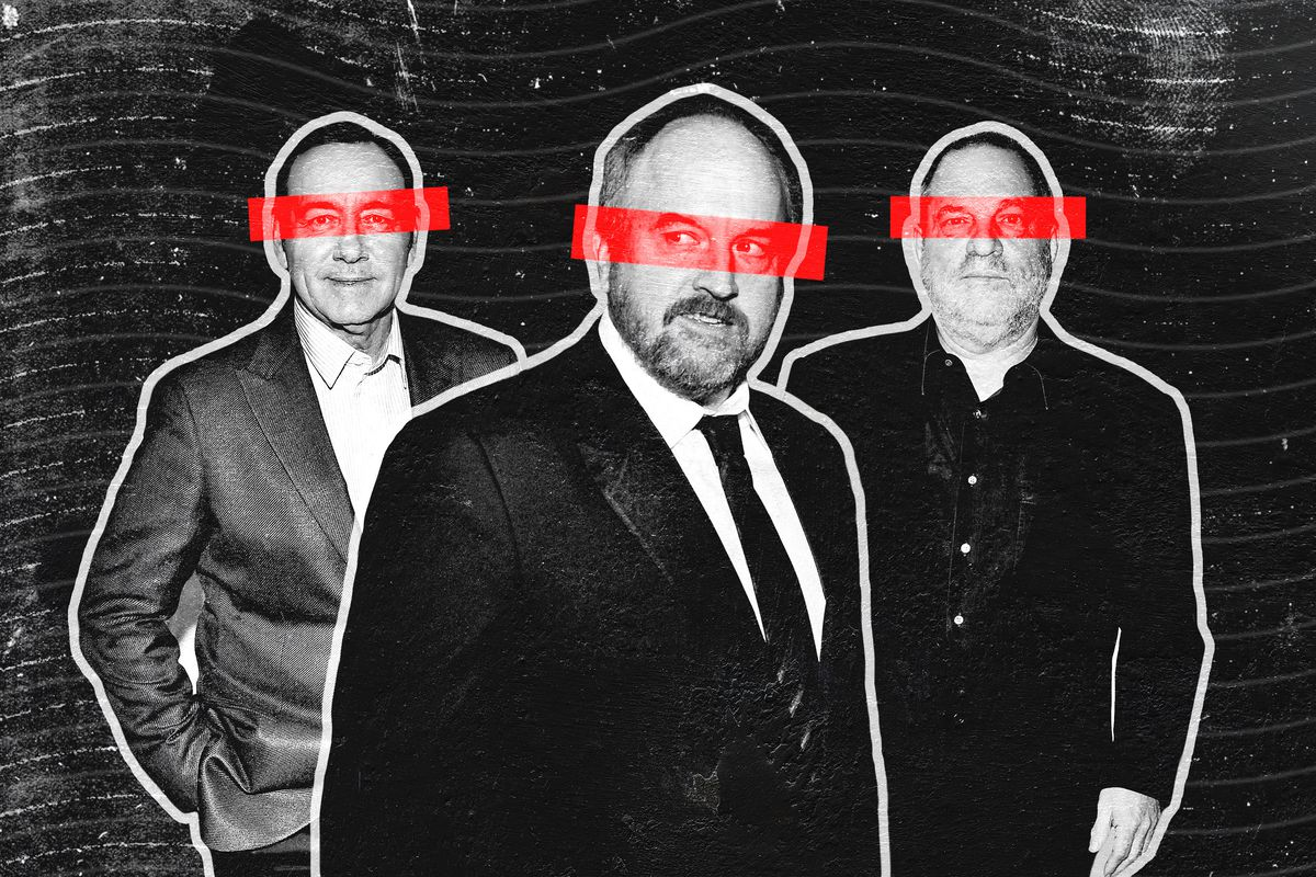 An illustration of Kevin Spacey, Louis C.K., and Harvey Weinstein with red bars obscuring their eyes