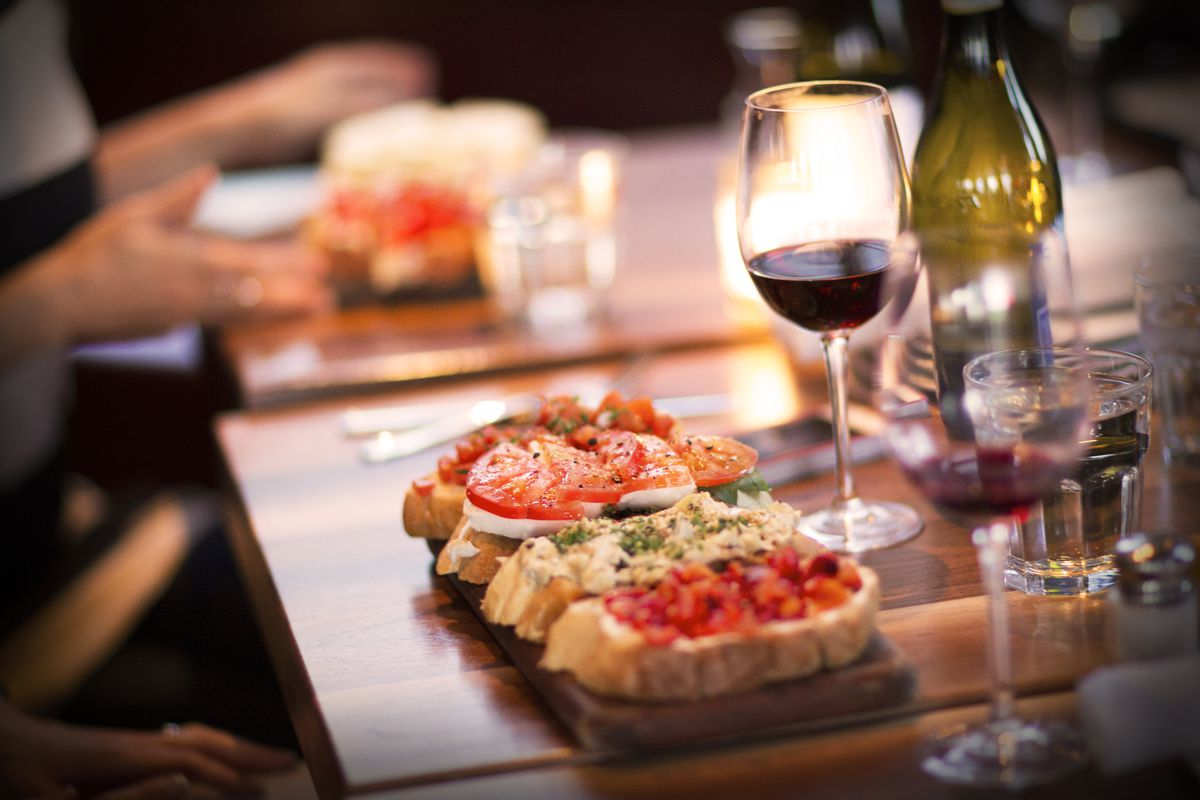 bruschetta and red wine from Postino Wine Cafe