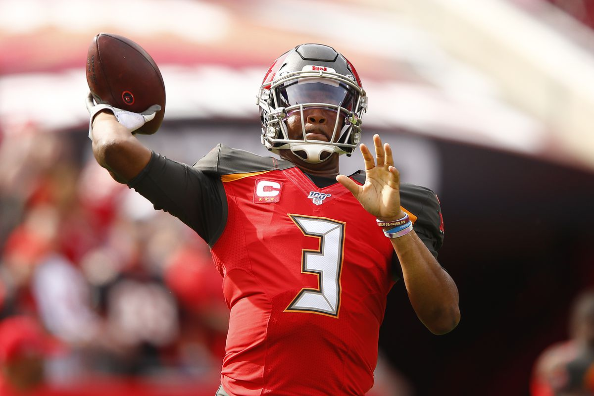 Jameis Winston of the Tampa Bay Buccaneers warms up prior to the game against the Atlanta Falcons at Raymond James Stadium on December 29, 2019 in Tampa, Florida.