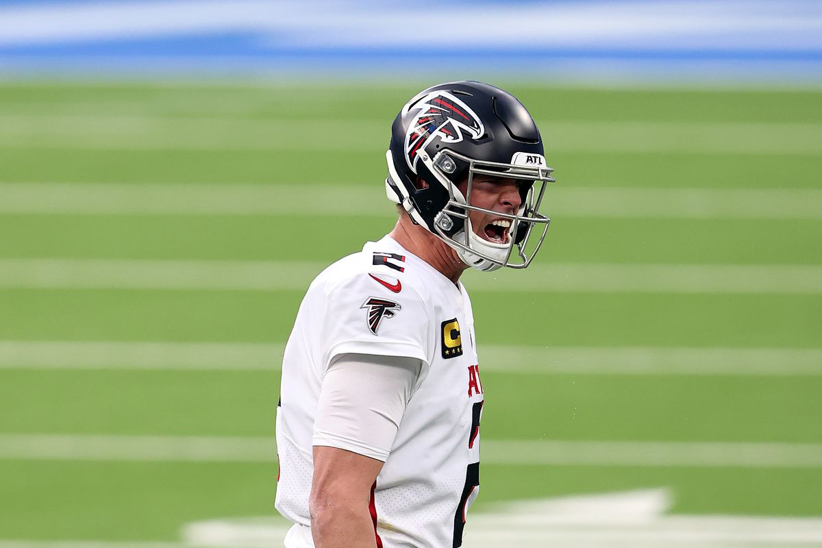 Matt Ryan #2 of the Atlanta Falcons reacts after being called for intentional grounding against the Los Angeles Chargers during the fourth quarter at SoFi Stadium on December 13, 2020 in Inglewood, California.