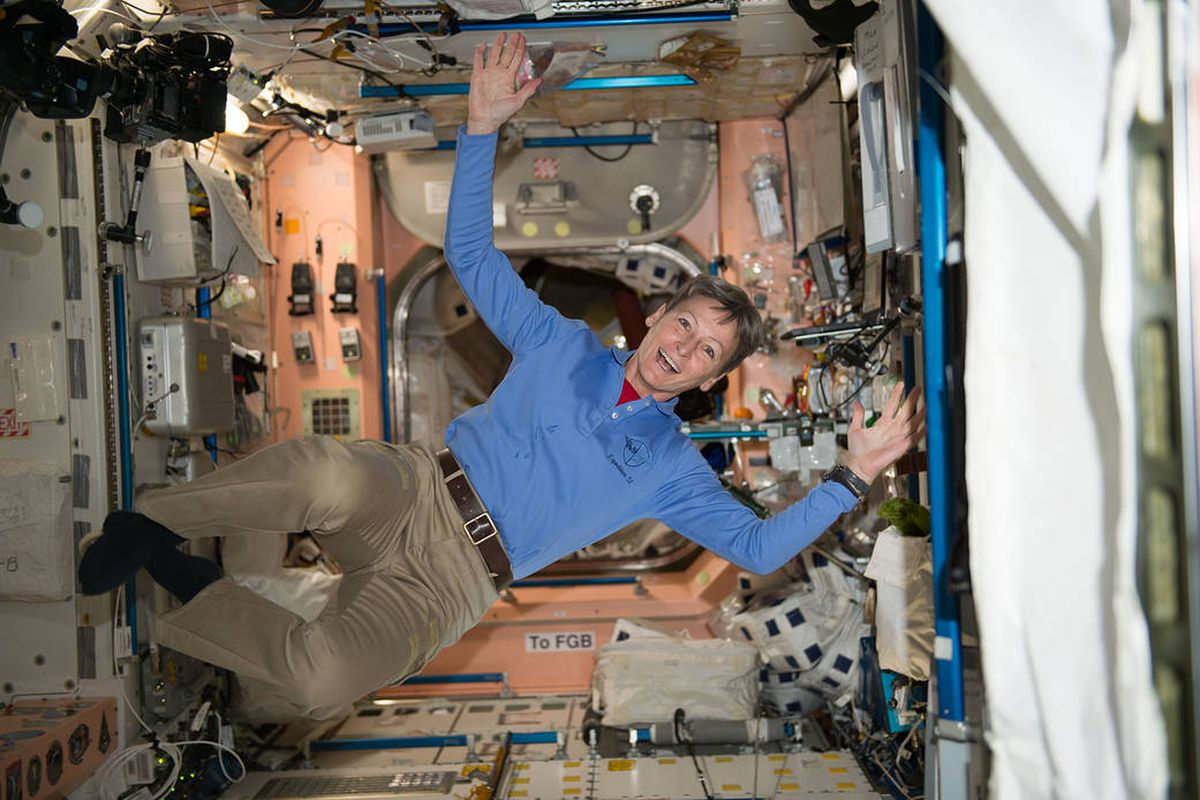 Record-breaking astronaut Peggy Whitson is spending an ...