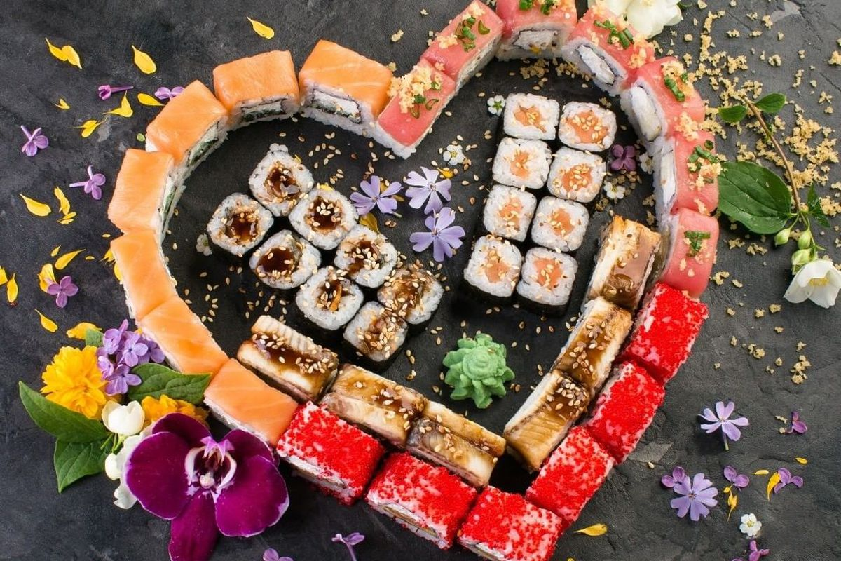 A selection of sushi bites arranged in the shape of a heart by the Yu-Or-Mi Sushi Bar, headed to the Arts District.