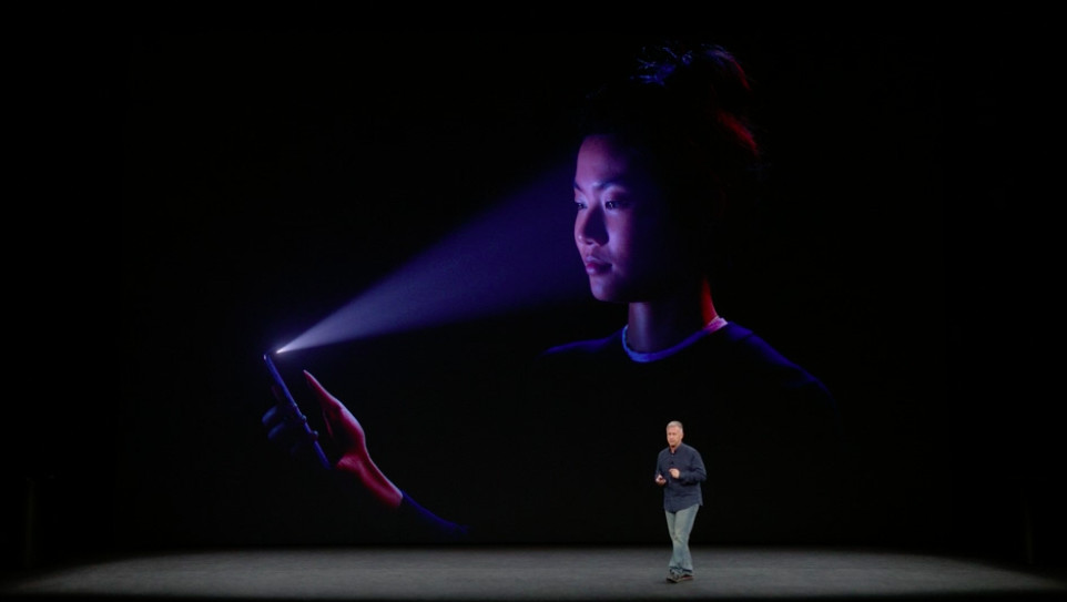 Still of Apple presentation showing facial recognition software