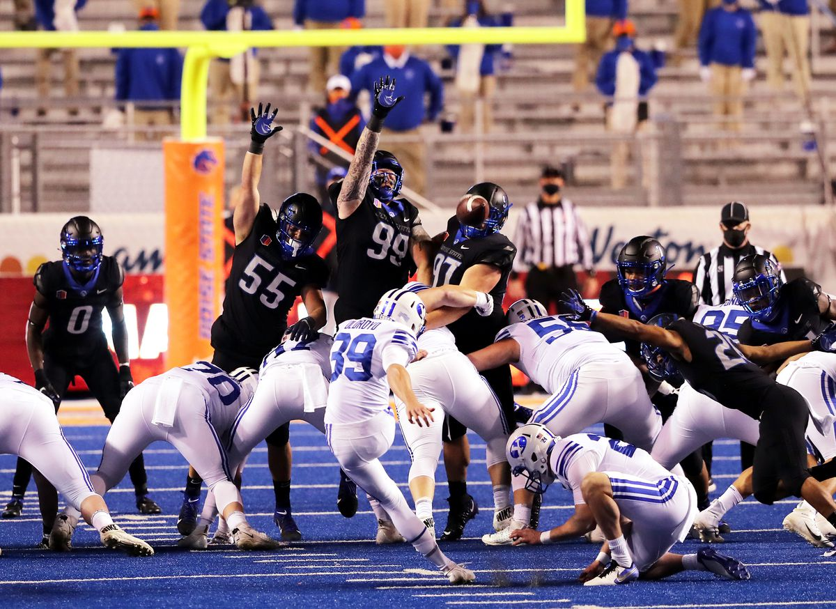 BYU place kicker Jake Oldroyd (39) kicks a 47-yard field goal as BYU and Boise State play a college football game at Albertsons Stadium in Boise on Friday, Nov. 6, 2020.