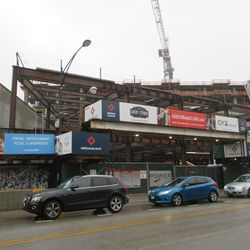 Relatively new steelwork, the Clark Street frontage of the Addison & Clark project