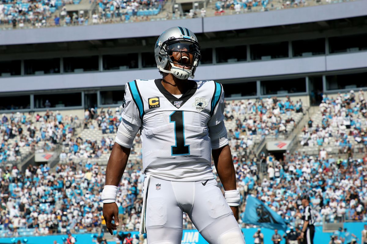 Cam Newton #1 of the Carolina Panthers reacts after a Panthers touchdown during their game against the Los Angeles Rams at Bank of America Stadium on September 08, 2019 in Charlotte, North Carolina.