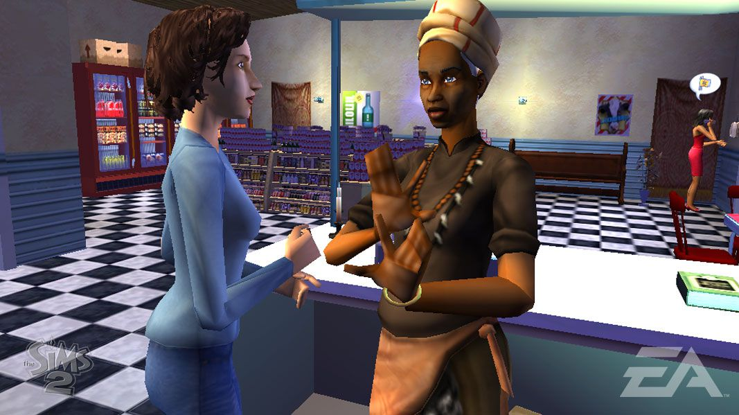 Two Sims talking in The Sims 2 PSP