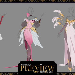 Concept art for an Irelia outfit at the Rift Gala