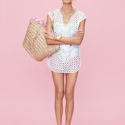 Eyelet cover-up in white, $32; 'Boom Boom' one-piece swimsuit, $40 (online only); Boom Boom' straw tote, $30; 'Nosie Posey' pom pom scarf, $20