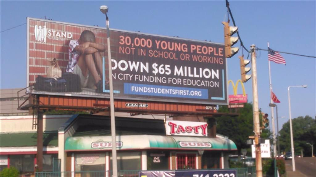 A 2017 billboard campaign, paid for by Stand for Children, highlighted frustration among city, county and school leaders over education funding in Memphis.