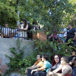 Crowds listen to Equality Utah Executive Director Troy Williams at a rally celebrating the Supreme Court's decision to legalize same-sex marriage at City Creek Park in Salt Lake City, Friday, June 26, 2015.