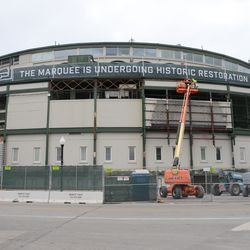 1:26 p.m. The front of the ballpark, with some of the panels now removed -