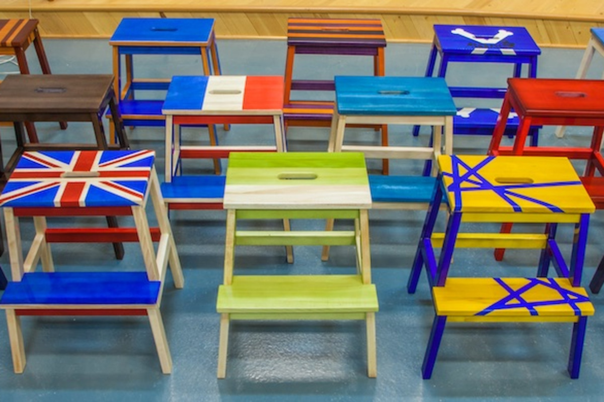 ikea stools transformed