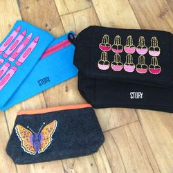 Story branded makeup and travel bags $12-$15
