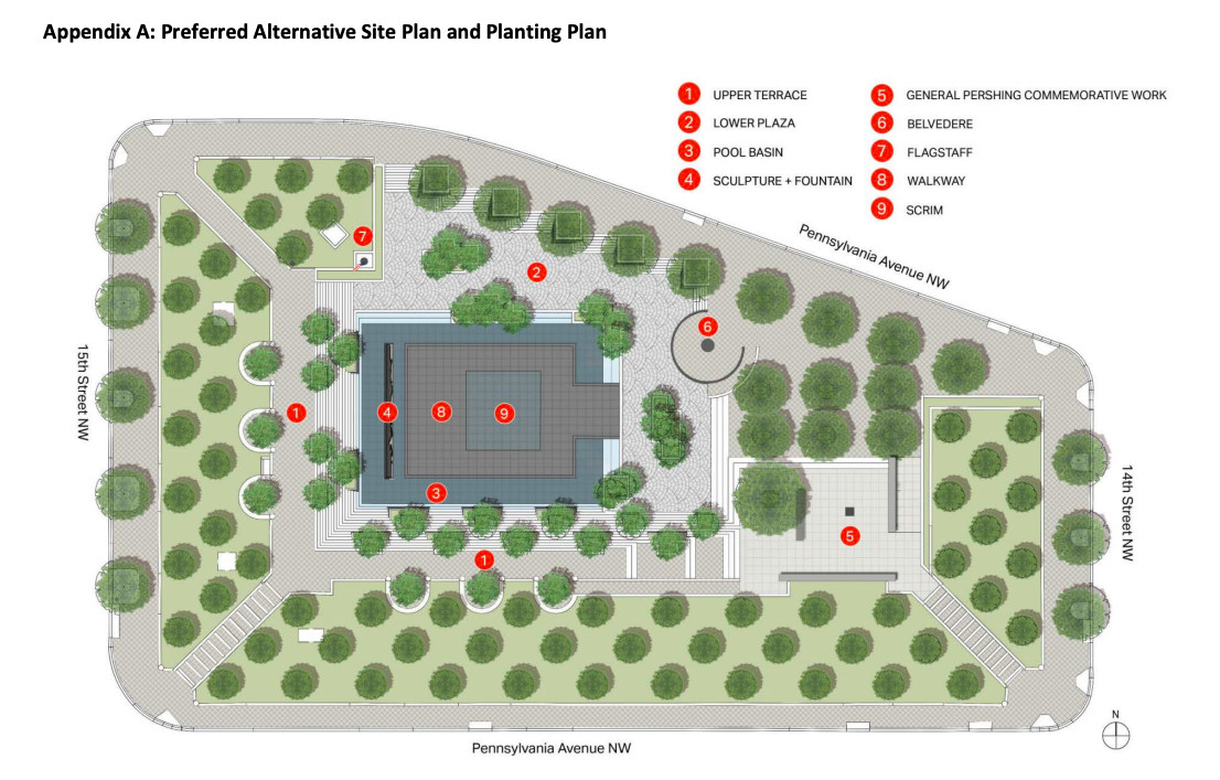 A site plan for a park memorial showing trees and object locations.