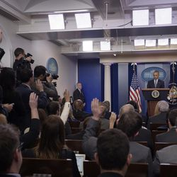 President Barack Obama speaks at a news conference in the Brady press briefing room at the White House on Nov. 14, 2016.