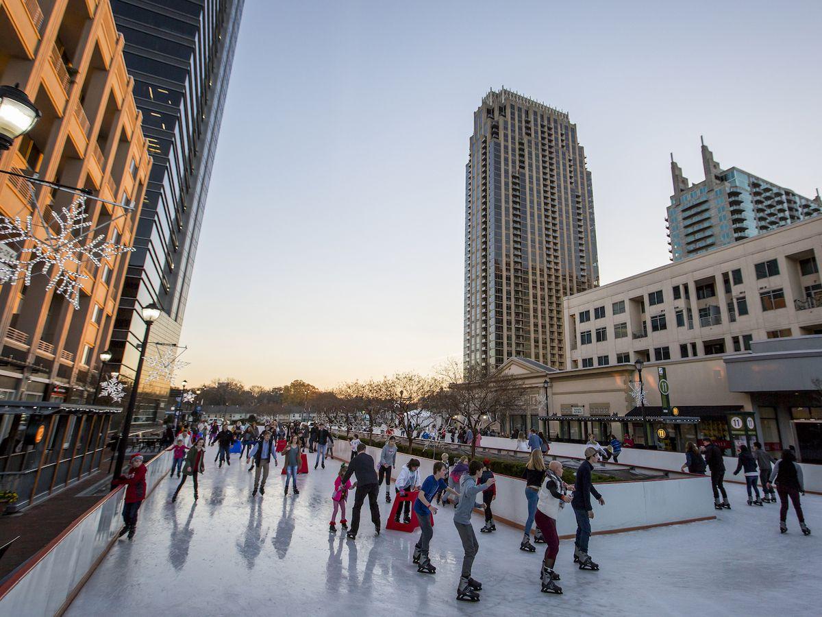 People ice skating at Atlantic Station.