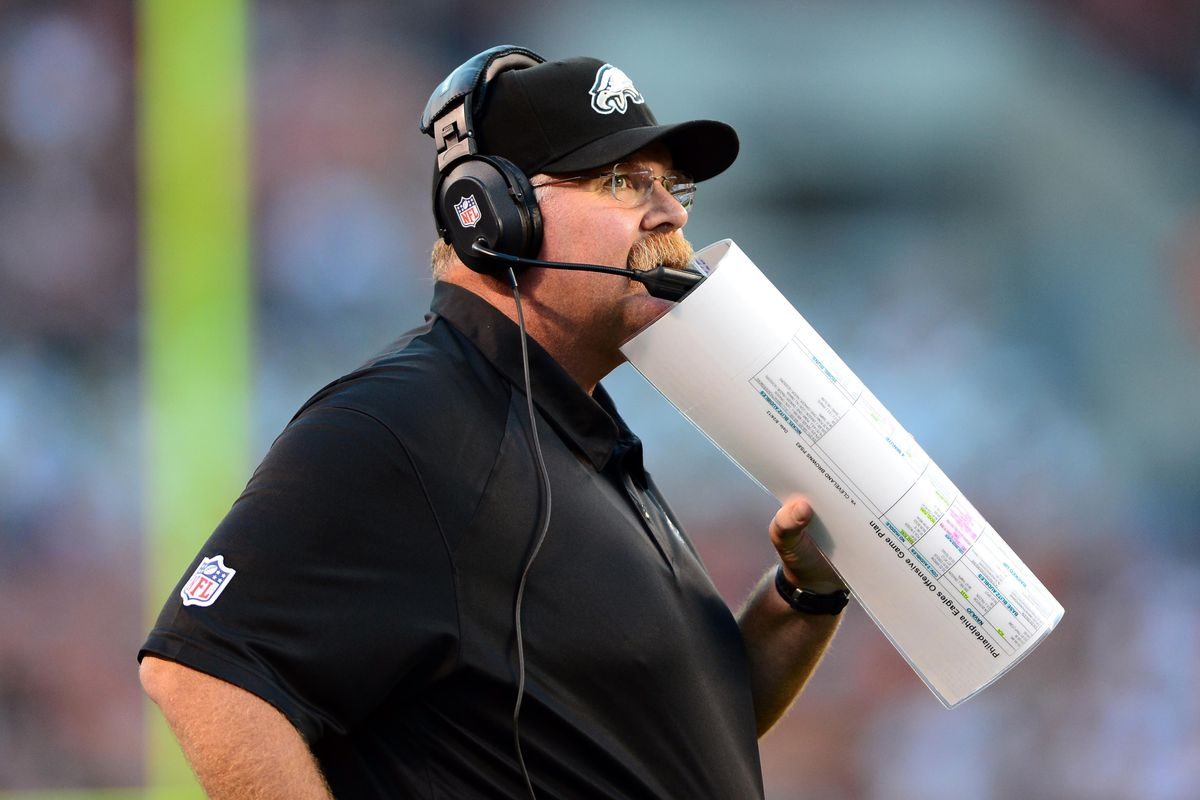 Aug 24, 2012; Cleveland, OH, USA; Philadelphia Eagles head coach Andy Reid against Cleveland Browns in a preseason game at Cleveland Browns Stadium. Mandatory Credit: Andrew Weber-US Presswire