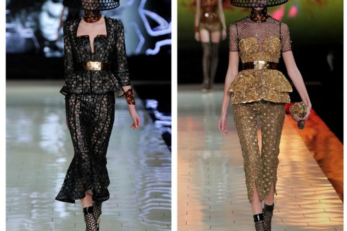 """Looks from the <a href=""""http://www.alexandermcqueen.com/experience/en/alexandermcqueen/archive/womens-springsummer-2013/#id_article=564"""">Spring 2013</a> runway; the heels at left and the bustier at right were both available at this sale"""