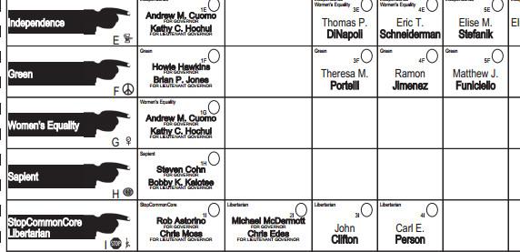 New York sample ballot
