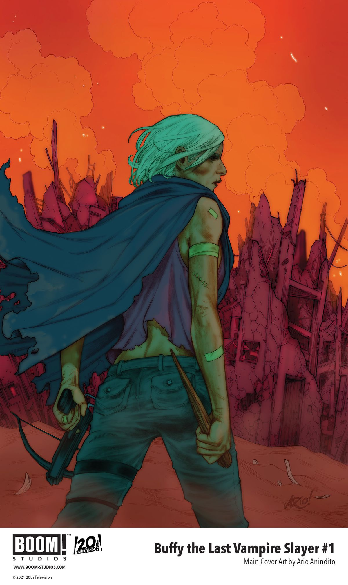 Buffy The Last Vampire Slayer - cover art for issue #1, which shows an older Buffy Summers with a crossbow and a stake against a red and orange post-apocalyptic background