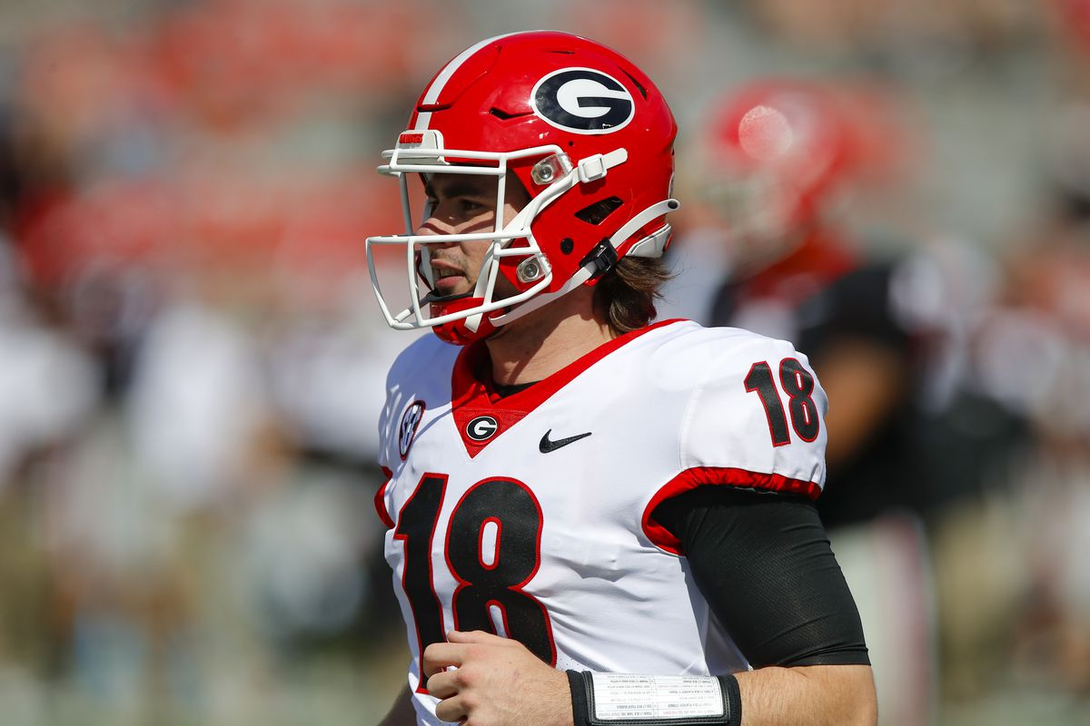 Quarterback JT Daniels of the Georgia Bulldogs reacts after a touchdown during the second half of the G-Day spring game at Sanford Stadium on April 17, 2021 in Athens, Georgia.