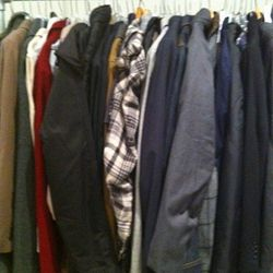 Men's outerwear, with a plaid peeking out