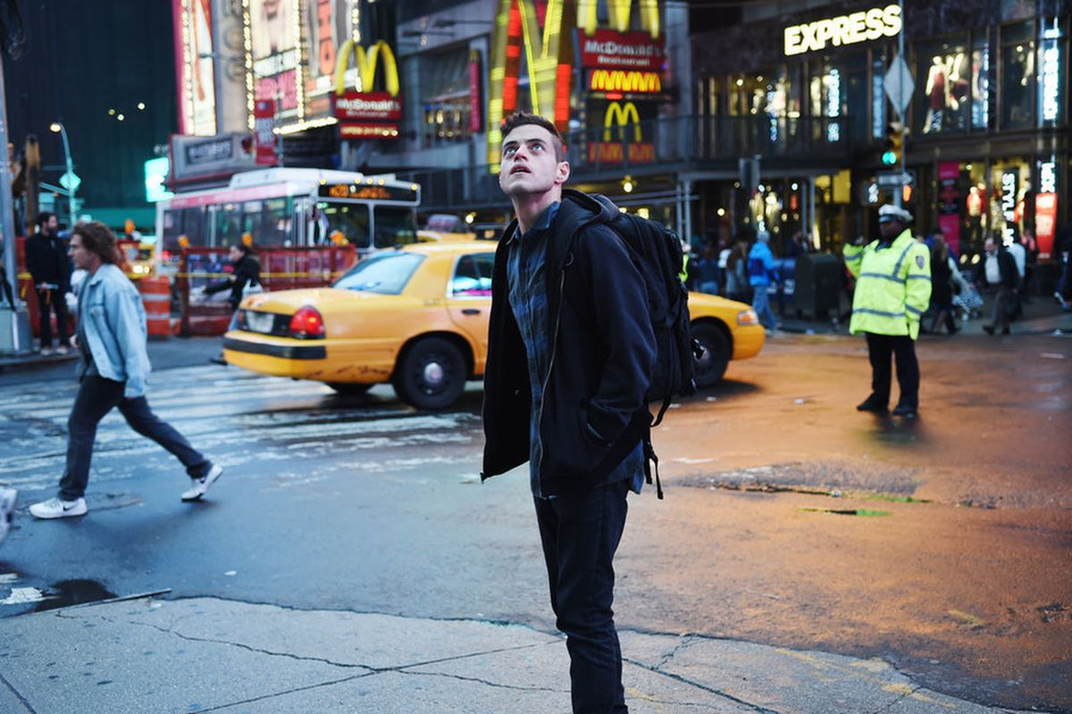 Rami Malek plays a paranoid hacker in the new thriller Mr. Robot. Sadly, he is not Mr. Robot. (Scroll down to find out who Mr. Robot is.)