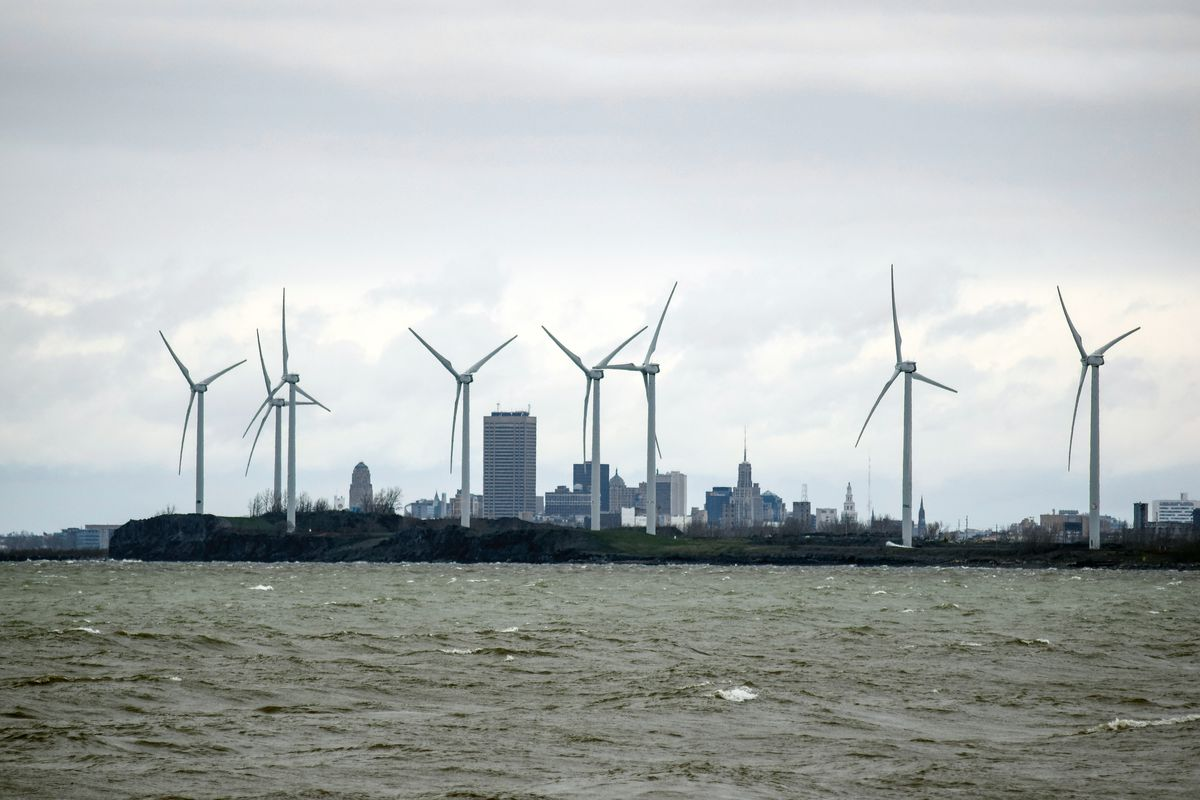 Wind turbines along the coast of Lake Erie, in Buffalo, New York.