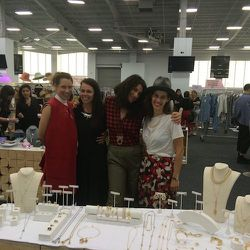 <strong>5:00pm</strong> The gang at Mega Mega Projects. Eve Levigne, Meadowlark Jewelry, Gillian Steinhardt, Yestadt Millenary.